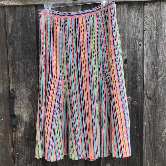 Anthropologie Dresses & Skirts - ANTHROPOLOGIE Maeve Spectral Stripe Neon Skirt M